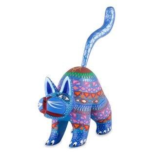 Alebrije Sculpture, 'Blue Cat Greeting' (Mexico)