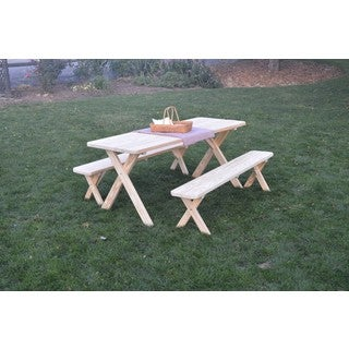 Pressure Treated Pine Unfinished Cross Leg Picnic Table with Detached Benches (4, 5, 6,or 8-foot Options)