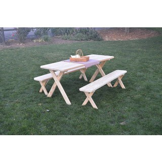 Pressure Treated Pine Unfinished Cross Leg Picnic Table with Detached Benches (4, 5, 6,or 8-foot Options) (4 options available)