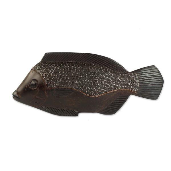 Wood Sculpture, 'African Fish' (Ghana)