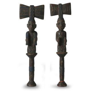 Pair of Wood Sculptures, 'Yoruba Truth' (Ghana)