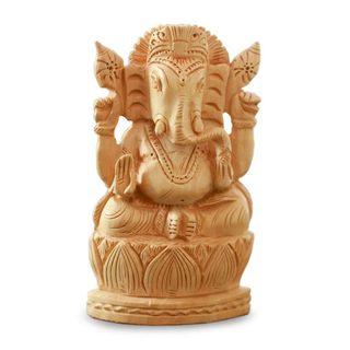 Wood Statuette, 'Happy Ganesha' (India)