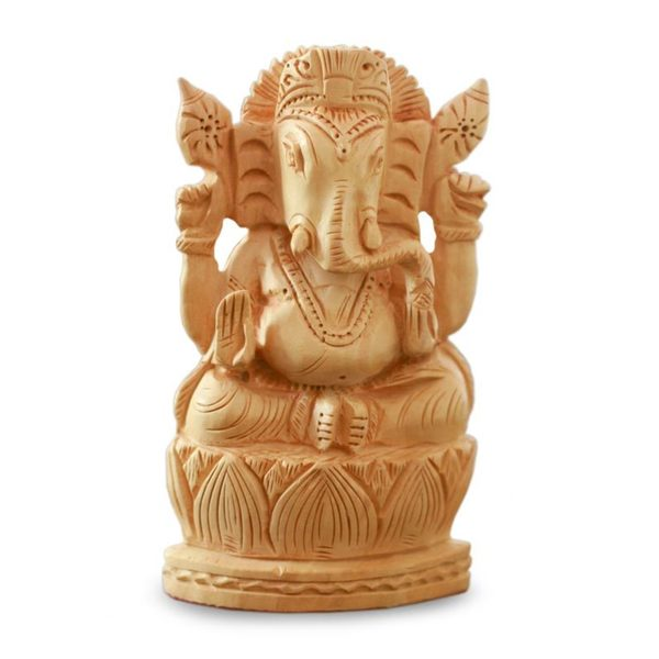 Wood Statuette, 'Happy Ganesha' (India)