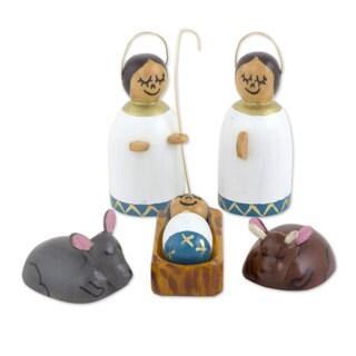 Wood Nativity Scene, 'Holy Family In White' (Guatemala)