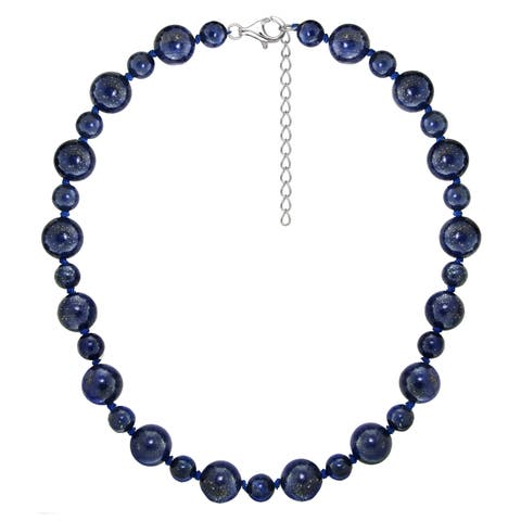 "DaVonna Sterling Silver 8 mm and 12mm Blue Lapis Gemstones Necklace 18"" Length + 2"" Extender"