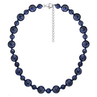 "DaVonna Sterling Silver 8 mm and 12mm Blue Lapis Gemstones Necklace 18"" Length + 2"" Extender