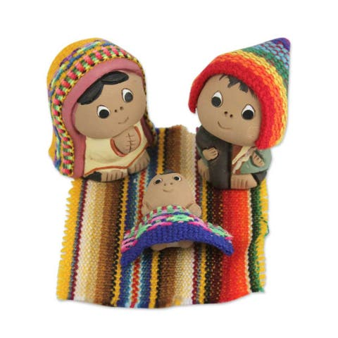 Set of 3 Ceramic Nativity Scene, 'Andean Holy Family' (Peru)