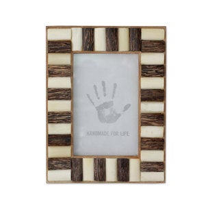Bone and Teakwood Photo Frame, 'Forest Appeal' (India)