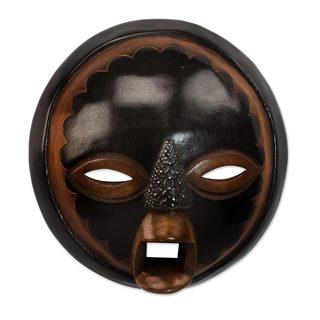 African Wood Mask, 'Good Money' (Ghana)