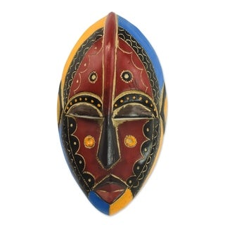 Handmade African Wood Mask, 'Uzoma' (Ghana) - black/yellow