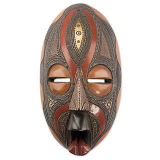 African Aluminum and Brass Plated Wood Mask, 'Personal Union' (Ghana)