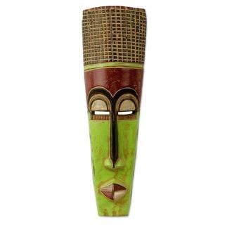Handmade Tall Man Wood Mask (Ghana) - Brown/Green