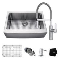 KRAUS 30 Inch Farmhouse Single Bowl Stainless Steel Kitchen Sink, KPF-1640 Nola Commercial Pull Down Faucet, Dispenser