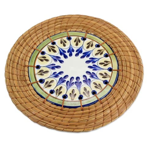 Handmade Ceramic and Pine Needle Trivet, 'Country Helper' (Guatemala)