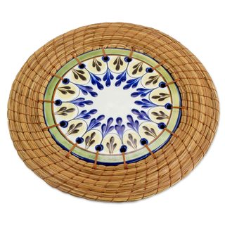 Ceramic and Pine Needle Trivet, 'Country Helper' (Guatemala)