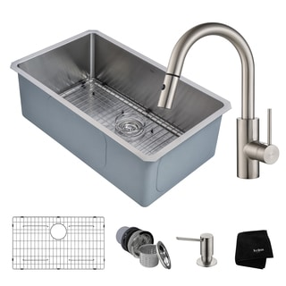 KRAUS Handmade Undermount Stainless Steel Single Bowl Kitchen Sink and Oletto Single Handle Pull DownFaucet with Soap Dispenser