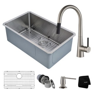 KRAUS Handmade Undermount Stainless Steel Single Bowl Kitchen Sink and Crespo Single Handle Pull Down Faucet with Soap Dispenser