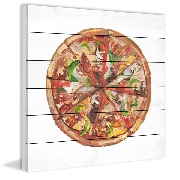 Marmont Hill - Handmade Ultimate Pizza Painting Print on White Wood