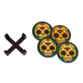 Set of 4 Decoupage Wood Coasters, 'Loving Skull' (Mexico)