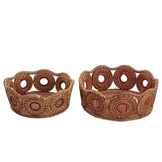 Pair of Pine Needle Baskets, 'Natural Spirals' (Guatemala)