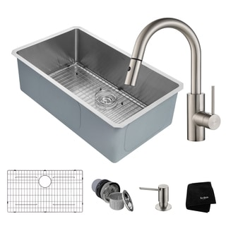 KRAUS Handmade Undermount Stainless Steel Single Bowl Kitchen Sink and Oletto Single Handle Pull Down Faucet with Soap Dispenser