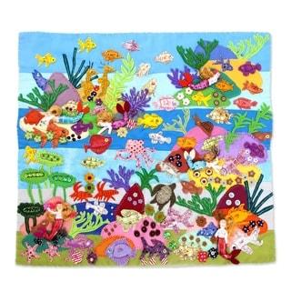 Cotton Blend Patchwork Wall Hanging, 'Coral Mermaids' (Peru)