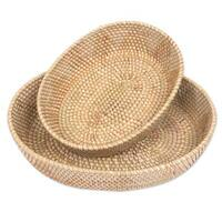 Pair of Natural Fiber Baskets, 'Oval Lombok Grace' (Indonesia)