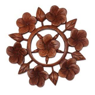 Handmade Wood Relief Panel, 'Frangipani Garden' (Indonesia) - Brown