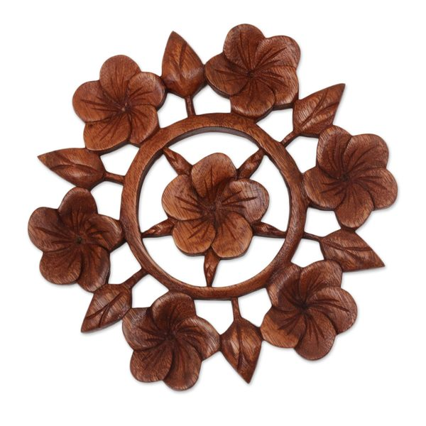 Handmade Wood Relief Panel, 'Frangipani Garden' (Indonesia) - Brown