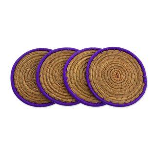 Handmade Set of 4 Pine Needle Coasters, 'Latin Toast In Purple' (Guatemala)