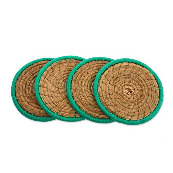 Set of 4 Pine Needle Coasters, 'Latin Toast In Green' (Guatemala)