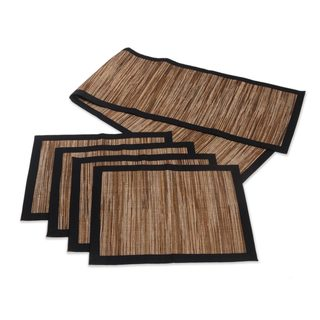 Set of 4 Natural Fibers Table Runner and Placemats, 'Rain' (Indonesia)