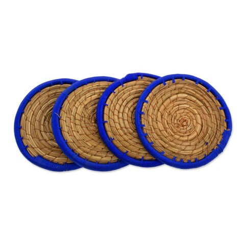 Handmade Set of 4 Pine Needle Coasters, 'Latin Toast In Blue' (Guatemala)