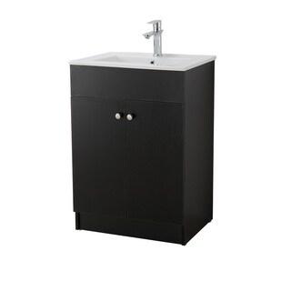 Infurniture Black Wood and Ceramic 24-inch Single-sink Bathroom Vanity
