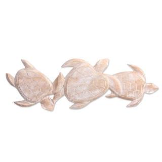 Wood Relief Panel, 'Sea Turtle Trio' (Indonesia)