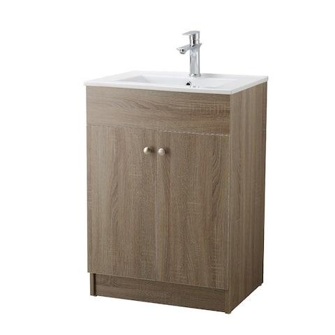 Infurniture Brown Oak Finish Ceramic Sink-top Single Sink Bathroom Vanity
