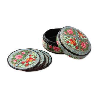 Set of 6 Papier Mache Coasters, 'Kashmir Floral' (India)