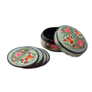 Handmade Set of 6 Papier Mache Coasters, 'Kashmir Floral' (India)