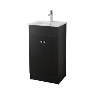 Infurniture Black Embossment Finish Ceramic 19-inch Sink-Top Single Sink Bathroom Vanity