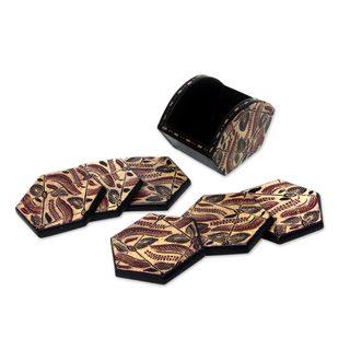 Handmade Set of 6 Wood Batik Coasters, 'Kirno Monda' (Indonesia)