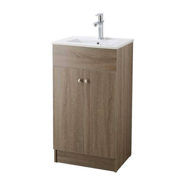 Infurniture Brown Oak 19 Inch Bathroom Vanity With Ceramic Single Sink Top
