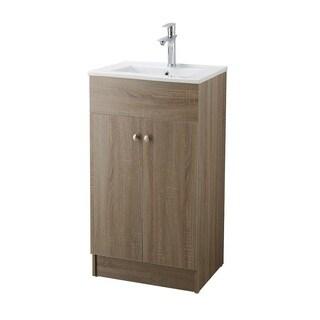 Infurniture Brown Oak 19 Inch Bathroom Vanity With Ceramic Single Sink Top
