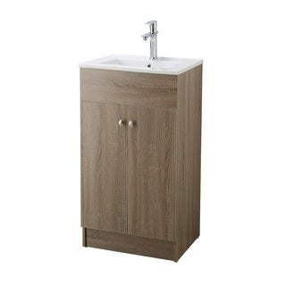Infurniture Brown Oak 19-inch Bathroom Vanity with Ceramic Single-sink Top