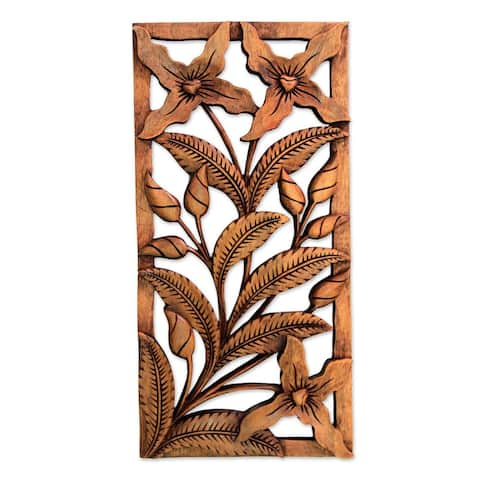 Wood Relief Panel, 'Spirit of The Wild Orchids' (Indonesia) - Brown
