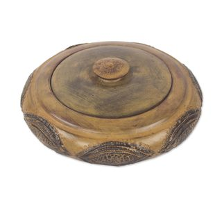 Handmade Wood Decorative Lidded Bowl, 'Araba' (Ghana)