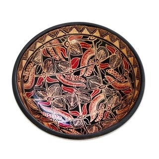 Wood Batik Centerpiece, 'Jasmine Bud' (Indonesia)