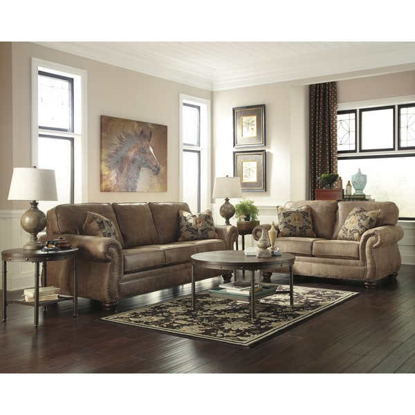 Signature Design By Ashley Larkinhurst Living Room Set In Faux Leather Free Shipping Today