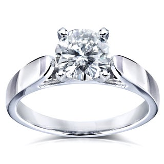 Annello by Kobelli 14k White Gold Round Moissanite 1 Carat Solitaire 4-prong Engagement Ring