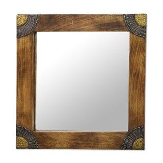 Wood Wall Mirror, 'Charming Image' (Ghana)
