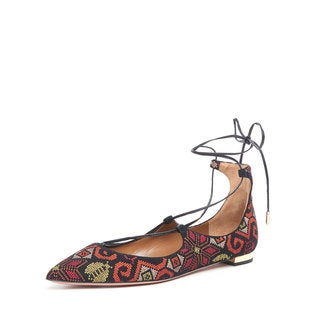 Aquazzura Christy Suede Embroidered Flats